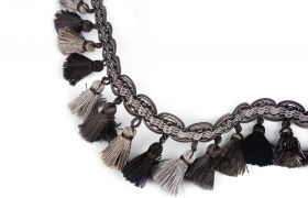 FRĘDZLE BAROQUE BRAID TASSEL FRINGE AT.557 B Graphite