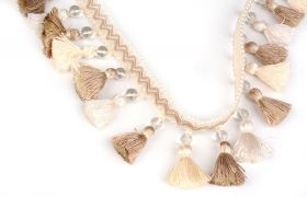 FRĘDZLE BAROQUE BRAID TASSEL FRINGE WITH GLASS AT.972A Linen